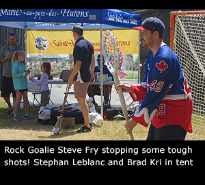 Rock Goalie Steve Fry stopping some tough shots! Stephan Leblanc and Brad Kri in tent