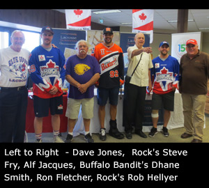 Presenters from Left to Right  - Dave Jones,  Toronto Rock's Steve Fry, Alf Jacques, Buffalo Bandit's Dhane Smith, Ron Fletcher, Rock's Rob Hellyer