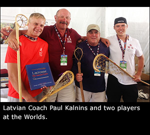 Latvian Coach Paul Kalnins and two players at the Worlds.